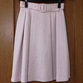 デビュードフィオレ(Debut de Fiore)のデビュードフィオレ S ベルト付きスカート グレイッシュピンク(ひざ丈スカート)