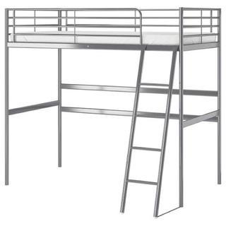 イケア(IKEA)のIKEA SVARTA ロフトベッドフレーム シルバー(ロフトベッド/システムベッド)