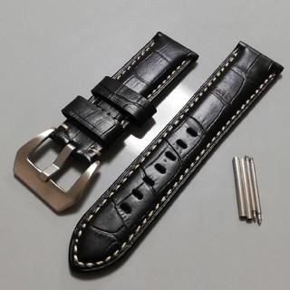 パネライ(PANERAI)の腕時計バンド レザーベルト 24mm ブラック パネライなどに(レザーベルト)