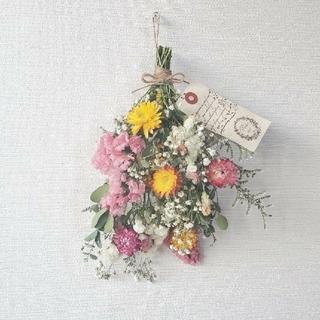貝細工と彩り小花のドライフラワー スワッグ/ボタニカル(ドライフラワー)
