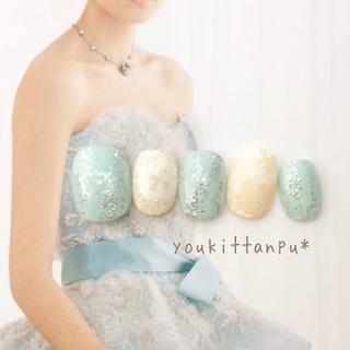 輝きながら*ネイルチップ 付け爪 つけ爪 結婚式 ブライダル ウェディング 春夏(ネイルチップ)