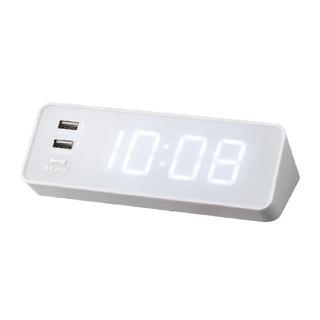 イデアインターナショナル(I.D.E.A international)の【ともひろ様専用】BRUNO LEDクロック with USB ホワイト 2個(置時計)