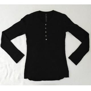 ダブルジェーケー(wjk)のwjk ワッフルロングTシャツ ブラック(Tシャツ/カットソー(七分/長袖))