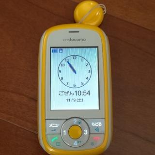 エヌティティドコモ(NTTdocomo)のキッズ携帯 イエロー(携帯電話本体)