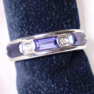 pt900 プラチナ リング 色石 ネイビー(リング(指輪))