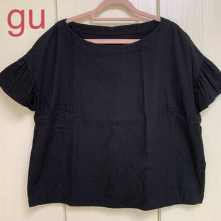 ジーユー(GU)の★gu フリル袖 半袖ブラウス シャツ 黒 M(シャツ/ブラウス(半袖/袖なし))
