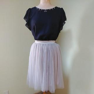 ダズリン(dazzlin)のdazzlinダズリン☆プリーツチュールスカートグレイ灰色(ひざ丈スカート)