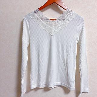 ヴィス(ViS)のVネックレースリブロングTシャツ(Tシャツ(長袖/七分))