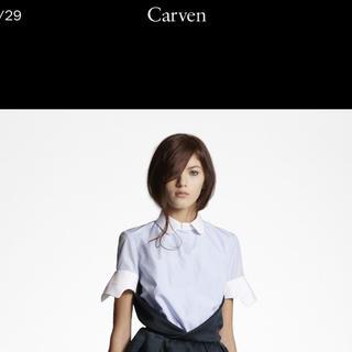 カルヴェン(CARVEN)のCARVEN襟デザインコットンブラウスmiumiu  Celine prada (シャツ/ブラウス(長袖/七分))
