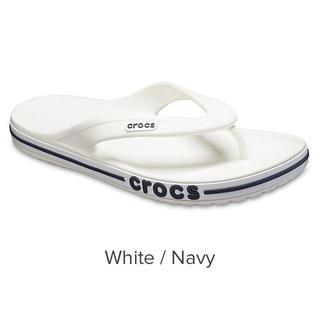crocs - 24cm クロックス バヤバンド フリップ White/Navy M6W8