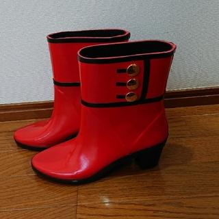 ケイトスペードニューヨーク(kate spade new york)のkate spade レインブーツ 長靴 赤/朱色 24.5-25cm(レインブーツ/長靴)