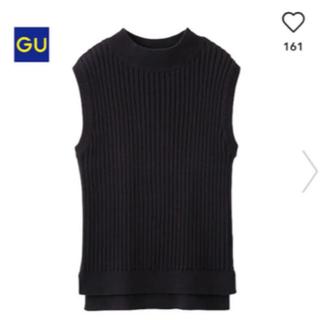 ジーユー(GU)のGU ノースリーブ リブハイネックベスト Lサイズ黒(ニット/セーター)