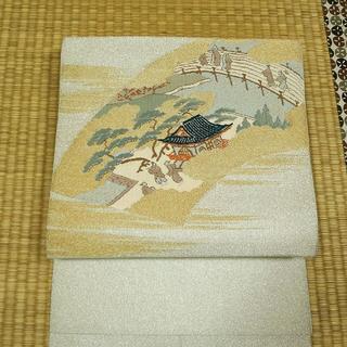 銀糸と金糸の織りに平安絵巻柄 名古屋帯(帯)