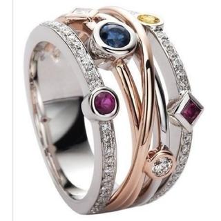 六色石ファッションリング(リング(指輪))