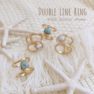 ストーン付きダブルラインリング 2タイプ(リング(指輪))