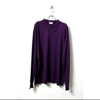 サンシー(SUNSEA)のURU KNIT L/S POLO SHIRTS D.Purple(ポロシャツ)