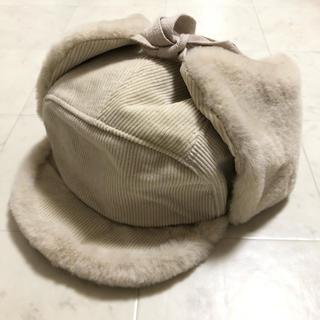 ザラ(ZARA)の帽子 冬 ホワイトベージュ (ニット帽/ビーニー)