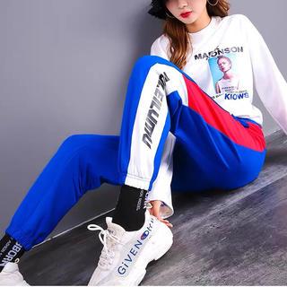 アディダス(adidas)のブルー×レッドジャージ ラインパンツ トラックパンツ ジョガーパンツ(ワークパンツ/カーゴパンツ)