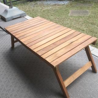 天然木  折りたたみローテーブル(アウトドアテーブル)