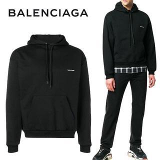 バレンシアガ(Balenciaga)の6 BALENCIAGA ブラック ロゴプリント スウェット パーカー/M(パーカー)