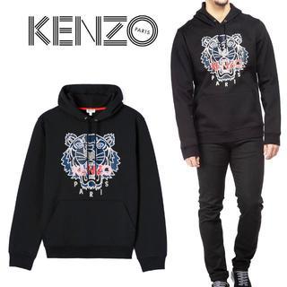 ケンゾー(KENZO)の7 KENZO ブラック タイガー プルオーバー パーカー XL(パーカー)