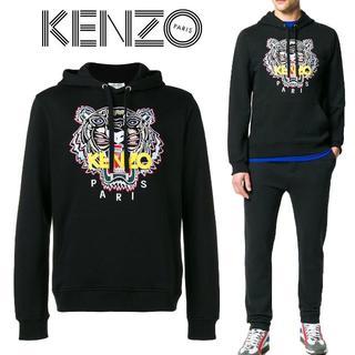 ケンゾー(KENZO)の8 KENZO ブラック タイガー プルオーバー パーカー L(パーカー)