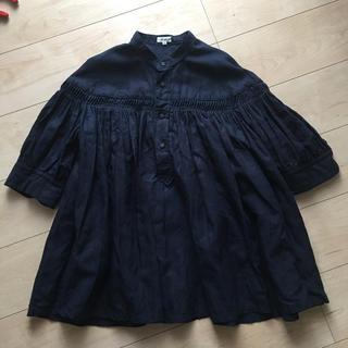 サイ(Scye)のSCYE リネン高密度半袖タックブラウス 40 ネイビー(シャツ/ブラウス(半袖/袖なし))