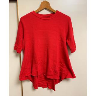 オオシマレイ(OSHIMA REI)のOSHIMA REI 赤ワッフルTシャツ 五分袖(Tシャツ(半袖/袖なし))