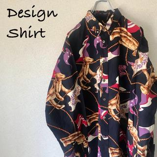 ピンクハウス(PINK HOUSE)のNATURE TRAIL 総柄 デザインシャツ アートデザイン クマ(シャツ)