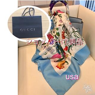 グッチ(Gucci)のGUCCI グッチ 美品 フローラル 大判 スカーフ ショッパー付(バンダナ/スカーフ)