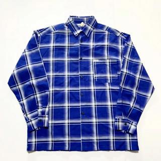 カルトップ(CALTOP)の90's caltop カルトップ オーバーサイズチェックシャツ ブルー 青(シャツ)