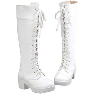 【新品未使用】厚底編み上げロングブーツ ホワイト 白 コスプレ(靴/ブーツ)
