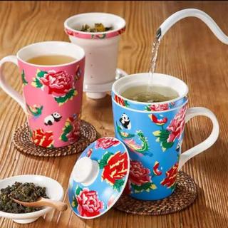 カルディ(KALDI)のカルディ 茶こし付きマグカップ 2点セット 凍頂四季春茶葉付(グラス/カップ)