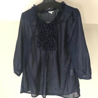 ブラウス・ネイビー ・紺・七分袖(シャツ/ブラウス(長袖/七分))
