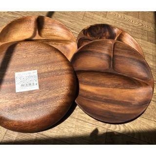 ソウカモッカ(草花木果)のアカシア ラウンドトレー仕切り付 木のプレート4枚(食器)