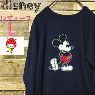 ディズニー(Disney)の【レア】ディズニー ミッキー セーター レディース L 濃紺(ニット/セーター)