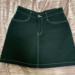 白ステッチデニム台形スカート(ミニスカート)