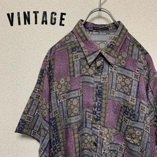 ビンテージ 総柄 ペルシャ絨毯 シャツ Lサイズ 高品質(シャツ)