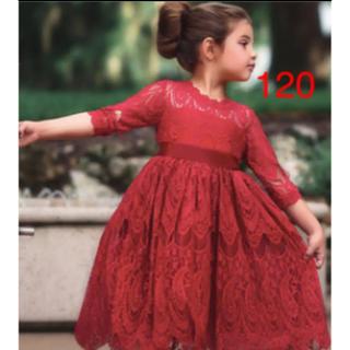 レースワンピース 赤ドレス  女の子120ドレス  ワンピース 120(ワンピース)