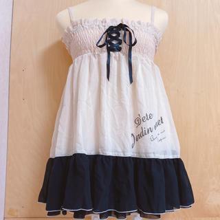 フィント(F i.n.t)のfintフロントレースアップロゴプリント2wayスカート(black)(ミニスカート)