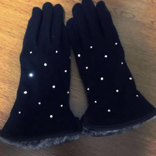 シマムラ(しまむら)の未使用!しまむら ラインストーン ファー手袋 ブラック(手袋)