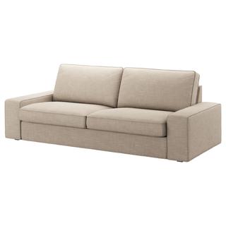 イケア(IKEA)のKIVIK シーヴィク 3人掛け用ソファカバー ヒッラレド ベージュ ほぼ新品(ソファカバー)