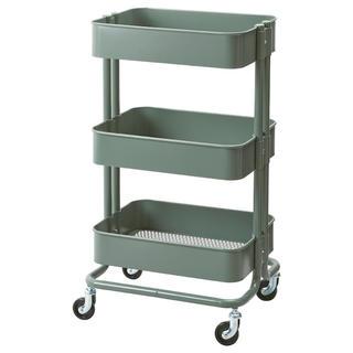 イケア(IKEA)のRASKOG ロースコグ ワゴン, グレーグリーン(キッチン収納)