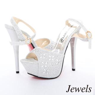 ジュエルズ(JEWELS)の【Jewels】ビジューストラップサンダル シルバー(サンダル)