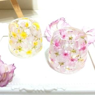 ★SALE★No.79,80 桜の固まるハーバリウムペン立て•印鑑立て2個set(ドライフラワー)