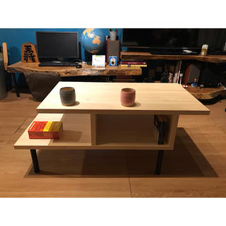 〓栄町工房〓 集成材テーブル 固定脚式C型 / 送料込み 脚はご自身でお取付け(ローテーブル)