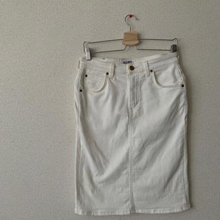 アングローバルショップ(ANGLOBAL SHOP)のLee× ford mills ホワイトデニムタイトスカート(ひざ丈スカート)