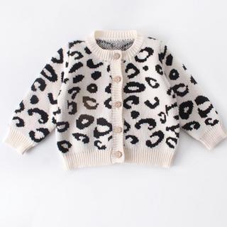 豹柄ニットカーディガン 韓国ベビー服