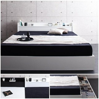 2色から選べる大型収納・人気収納ベッド【ポケットコイルマットレス付】(クイーンベッド)
