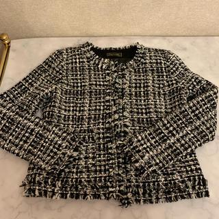エミリアウィズ(EmiriaWiz)のemiriawizノーカラーツイドジャケットブラックホワイト エミリアウィズ(ノーカラージャケット)
